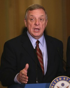 WASHINGTON, DC - APRIL 14: Sen. Dick Durbin (D-IL) speaks to the media during a news conference at the U.S. Capitol April 14, 2015 on Capitol Hill in Washington, DC. Both Senate Democrats and Senate Republicans spoke to the media after attending their weekly policy luncheons. (Photo by Mark Wilson/Getty Images)