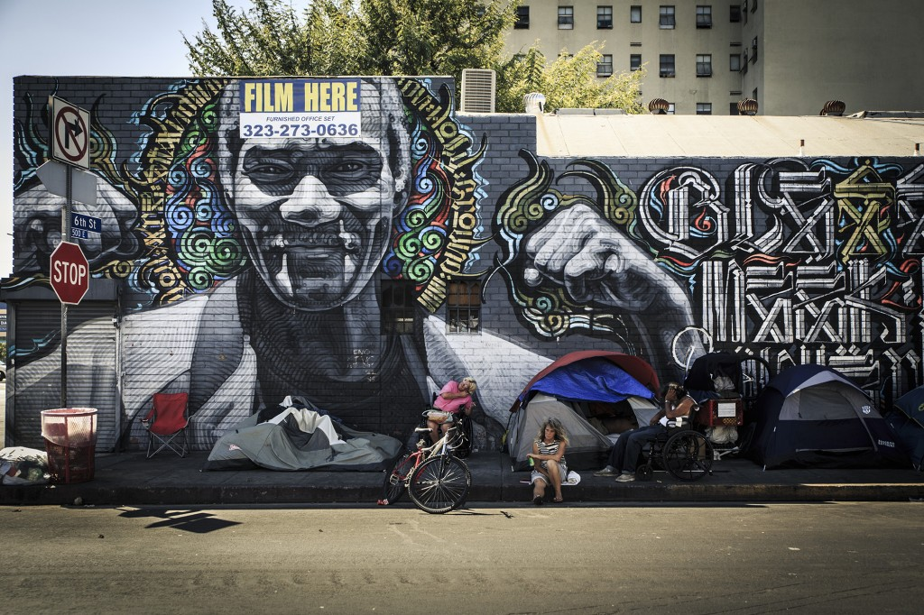 The intersection of Crocker St. and 6th street features a mural painted by artists RETNA and El Mac, in collaboration with photographer Estevan Oriol. This specific mural,which was finished in 2010 sits in the heart of Skid Row, reminding the locals that there may be hope for their current situation. It's a small but constant reminder to the homeless community struggling with addiction, economic woes and mental problems.