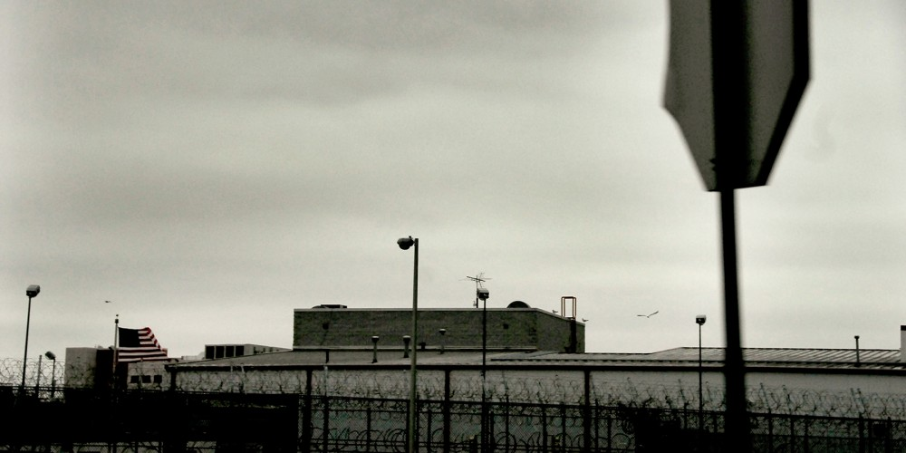 Partial view of Rikers Island Jail, NYC, NY. Nov 2009.